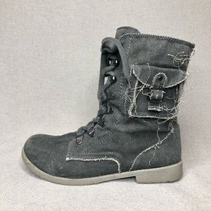 Roxy ponderosa distressed fabric lace up boots, 8